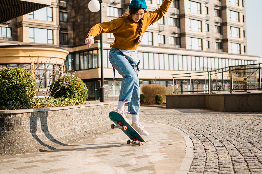 Woman riding a skateboard